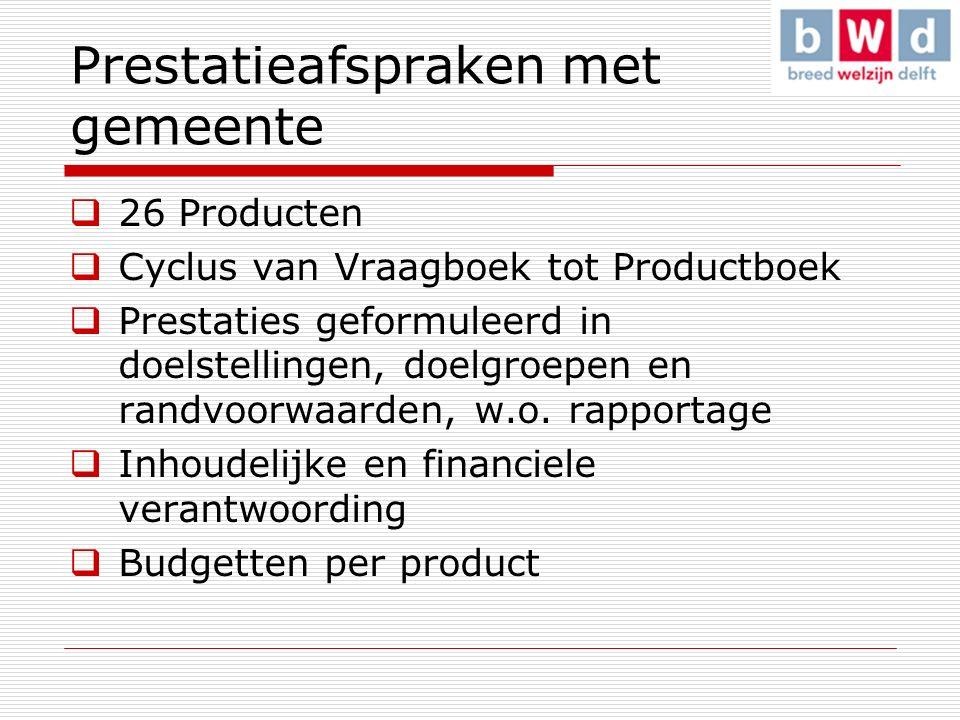 Prestatieafspraken met gemeente  26 Producten  Cyclus van Vraagboek tot Productboek  Prestaties geformuleerd in doelstellingen, doelgroepen en randvoorwaarden, w.o.