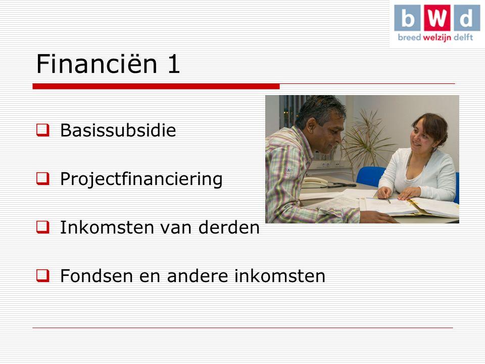 Financiën 1  Basissubsidie  Projectfinanciering  Inkomsten van derden  Fondsen en andere inkomsten