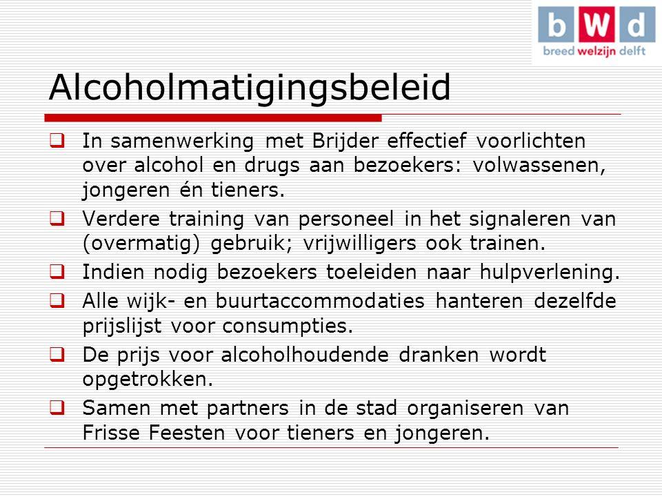 Alcoholmatigingsbeleid  In samenwerking met Brijder effectief voorlichten over alcohol en drugs aan bezoekers: volwassenen, jongeren én tieners.