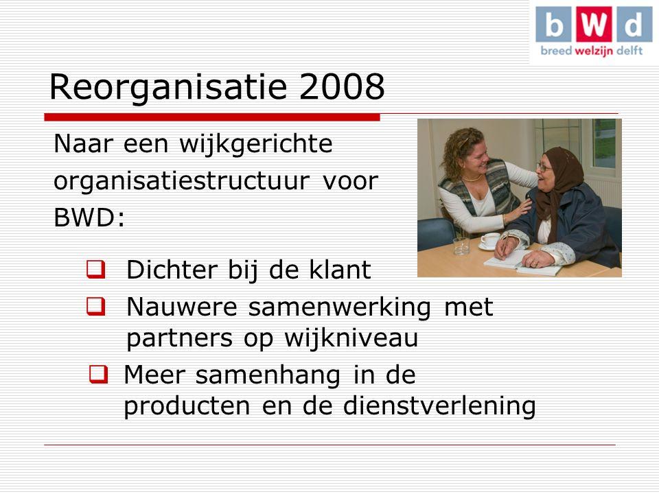 Naar een wijkgerichte organisatiestructuur voor BWD:  Dichter bij de klant  Nauwere samenwerking met partners op wijkniveau  Meer samenhang in de producten en de dienstverlening Reorganisatie 2008