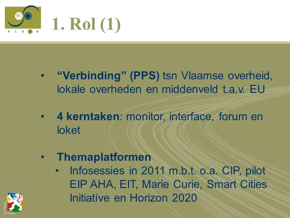 1.Rol (1) Verbinding (PPS) tsn Vlaamse overheid, lokale overheden en middenveld t.a.v.