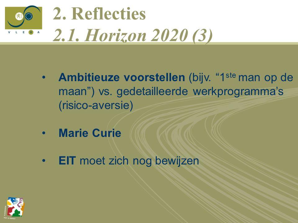 2. Reflecties 2.1. Horizon 2020 (3) Ambitieuze voorstellen (bijv.
