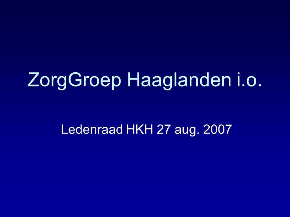 ZorgGroep Haaglanden i.o. Ledenraad HKH 27 aug. 2007