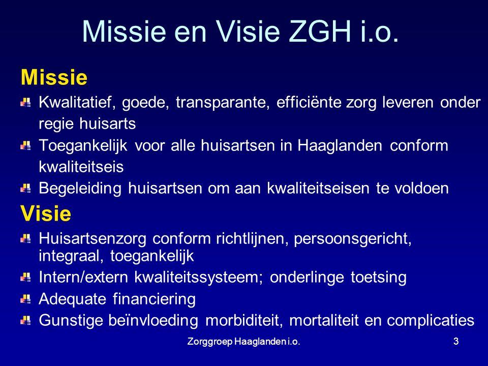 Zorggroep Haaglanden i.o.3 Missie en Visie ZGH i.o. Missie Kwalitatief, goede, transparante, efficiënte zorg leveren onder regie huisarts Toegankelijk