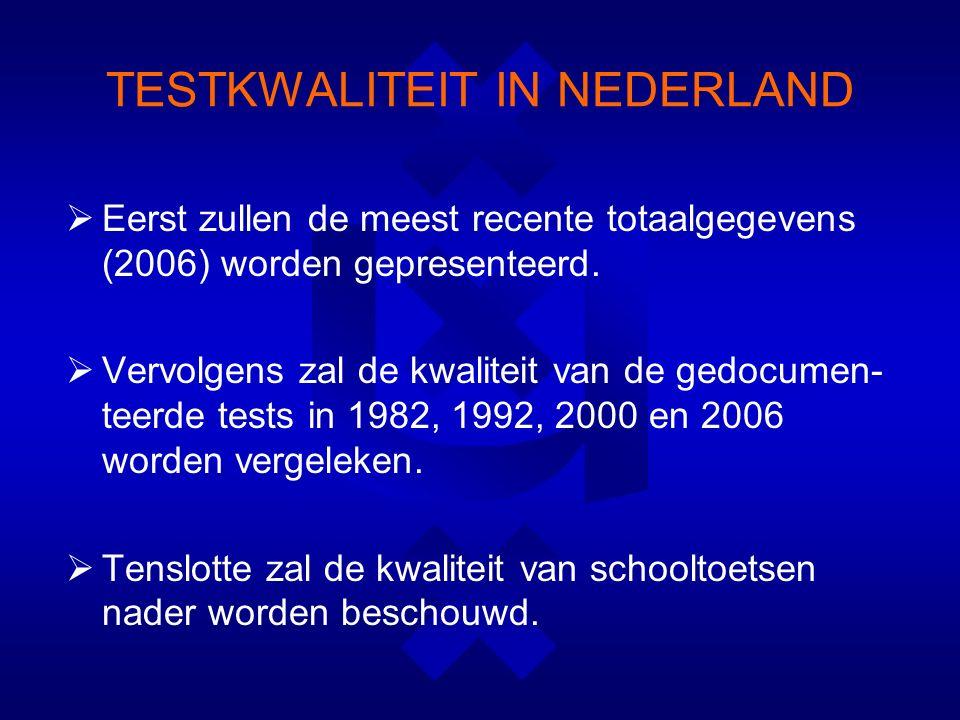 TESTKWALITEIT IN NEDERLAND  Eerst zullen de meest recente totaalgegevens (2006) worden gepresenteerd.