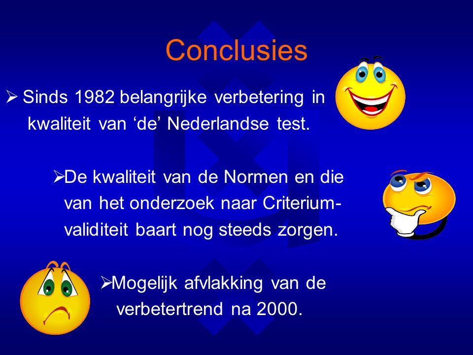 Conclusies  Sinds 1982 belangrijke verbetering in kwaliteit van 'de' Nederlandse test.
