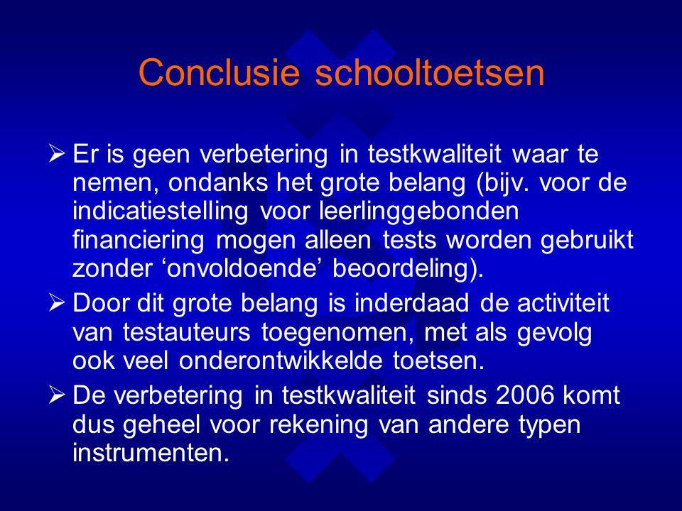 Conclusie schooltoetsen  Er is geen verbetering in testkwaliteit waar te nemen, ondanks het grote belang (bijv.