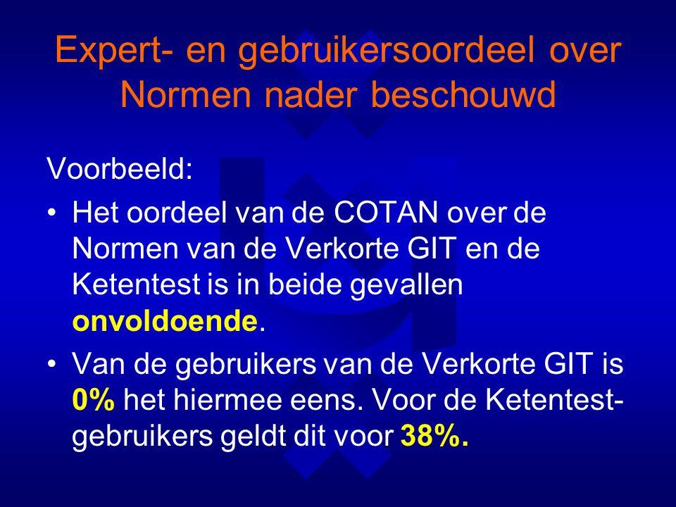 Expert- en gebruikersoordeel over Normen nader beschouwd Voorbeeld: Het oordeel van de COTAN over de Normen van de Verkorte GIT en de Ketentest is in beide gevallen onvoldoende.