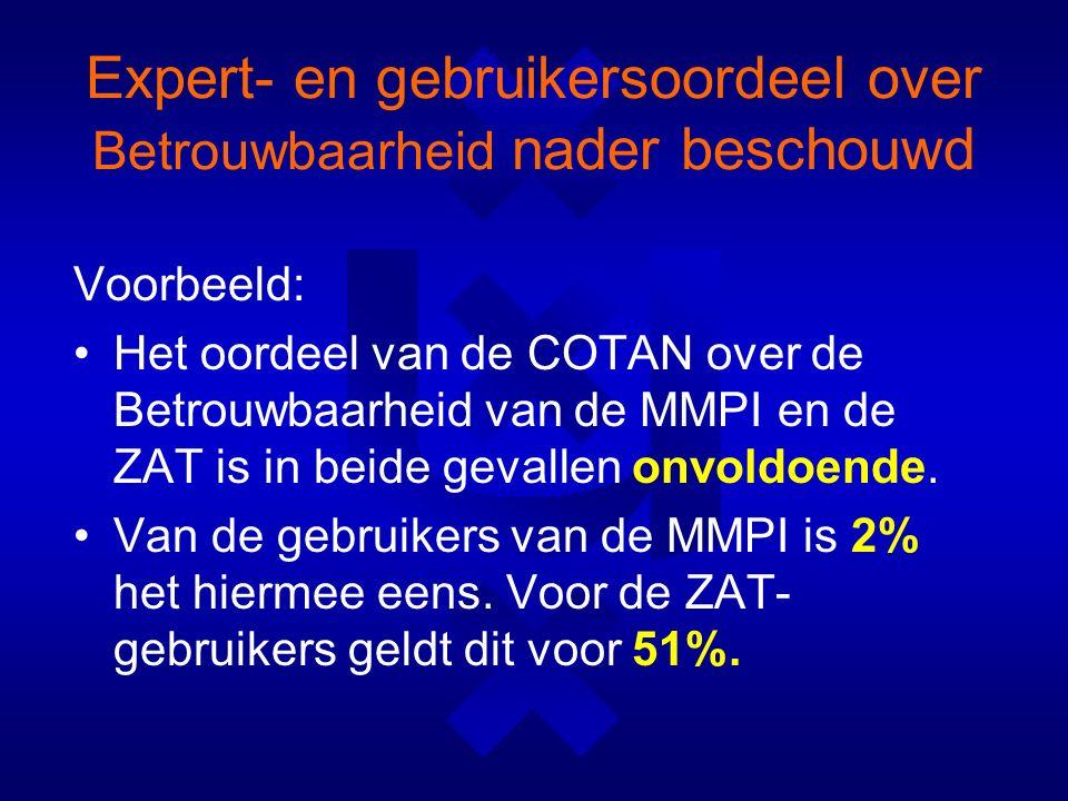 Expert- en gebruikersoordeel over Betrouwbaarheid nader beschouwd Voorbeeld: Het oordeel van de COTAN over de Betrouwbaarheid van de MMPI en de ZAT is in beide gevallen onvoldoende.