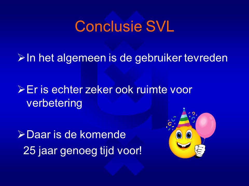 Conclusie SVL  In het algemeen is de gebruiker tevreden  Er is echter zeker ook ruimte voor verbetering  Daar is de komende 25 jaar genoeg tijd voor!