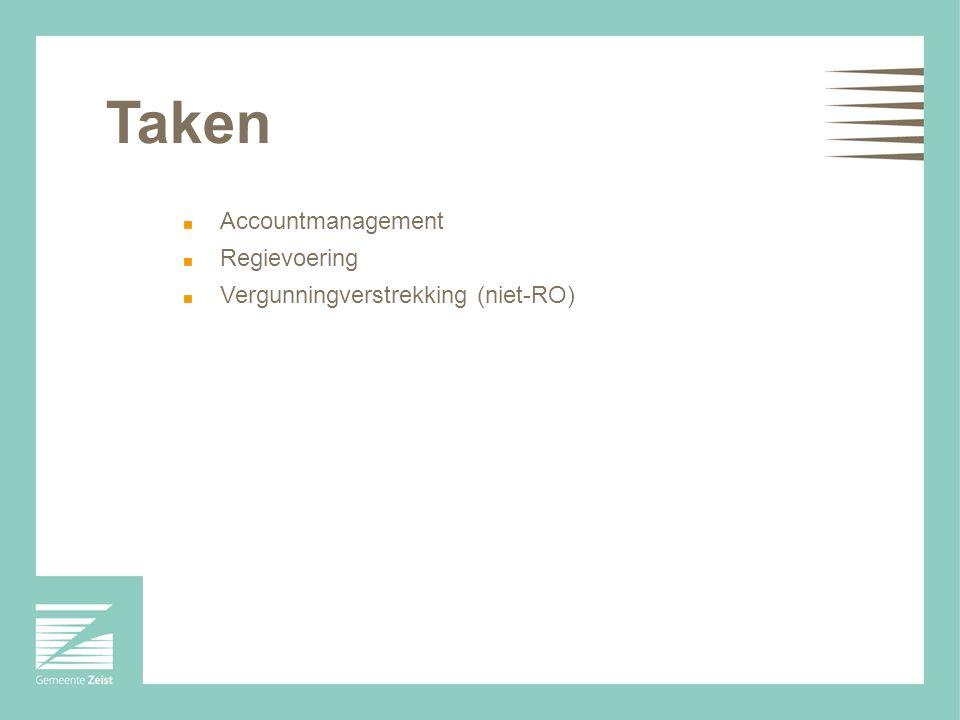 Taken Accountmanagement Regievoering Vergunningverstrekking (niet-RO)