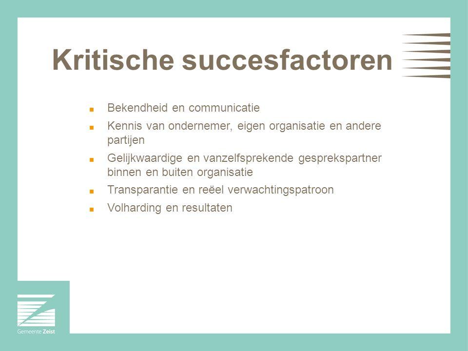 Kritische succesfactoren Bekendheid en communicatie Kennis van ondernemer, eigen organisatie en andere partijen Gelijkwaardige en vanzelfsprekende gesprekspartner binnen en buiten organisatie Transparantie en reëel verwachtingspatroon Volharding en resultaten
