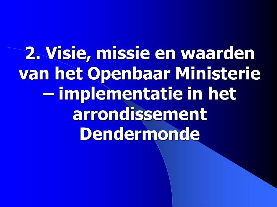 2. Visie, missie en waarden van het Openbaar Ministerie – implementatie in het arrondissement Dendermonde