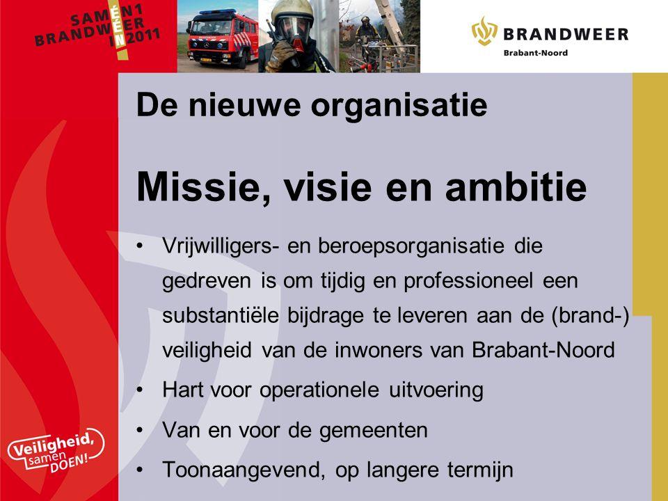 Missie, visie en ambitie Vrijwilligers- en beroepsorganisatie die gedreven is om tijdig en professioneel een substantiële bijdrage te leveren aan de (brand-) veiligheid van de inwoners van Brabant-Noord Hart voor operationele uitvoering Van en voor de gemeenten Toonaangevend, op langere termijn De nieuwe organisatie