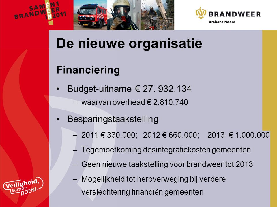 Financiering Budget-uitname € 27.
