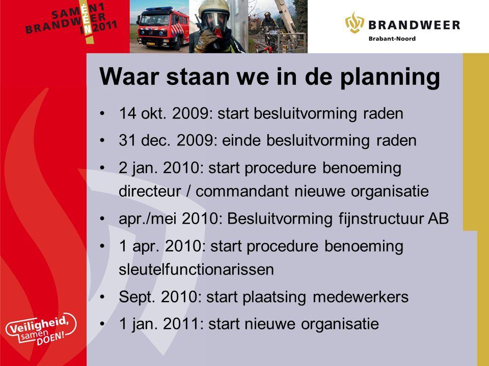 14 okt. 2009: start besluitvorming raden 31 dec. 2009: einde besluitvorming raden 2 jan. 2010: start procedure benoeming directeur / commandant nieuwe