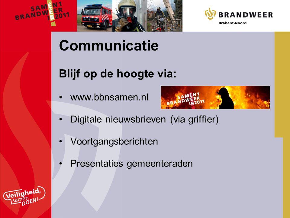 Blijf op de hoogte via: www.bbnsamen.nl Digitale nieuwsbrieven (via griffier) Voortgangsberichten Presentaties gemeenteraden Communicatie