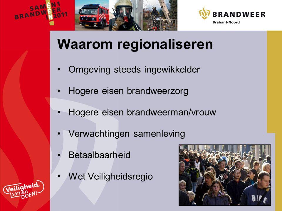 Omgeving steeds ingewikkelder Hogere eisen brandweerzorg Hogere eisen brandweerman/vrouw Verwachtingen samenleving Betaalbaarheid Wet Veiligheidsregio Waarom regionaliseren