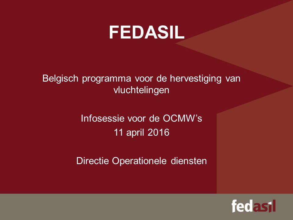 FEDASIL Belgisch programma voor de hervestiging van vluchtelingen Infosessie voor de OCMW's 11 april 2016 Directie Operationele diensten