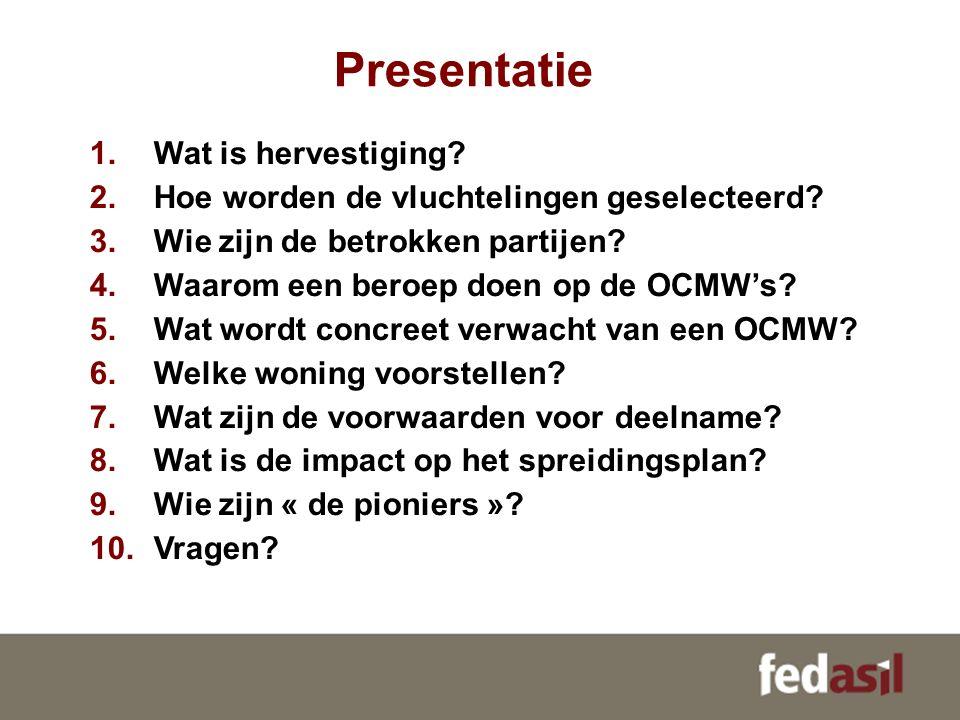 Presentatie 1.Wat is hervestiging? 2.Hoe worden de vluchtelingen geselecteerd? 3.Wie zijn de betrokken partijen? 4.Waarom een beroep doen op de OCMW's