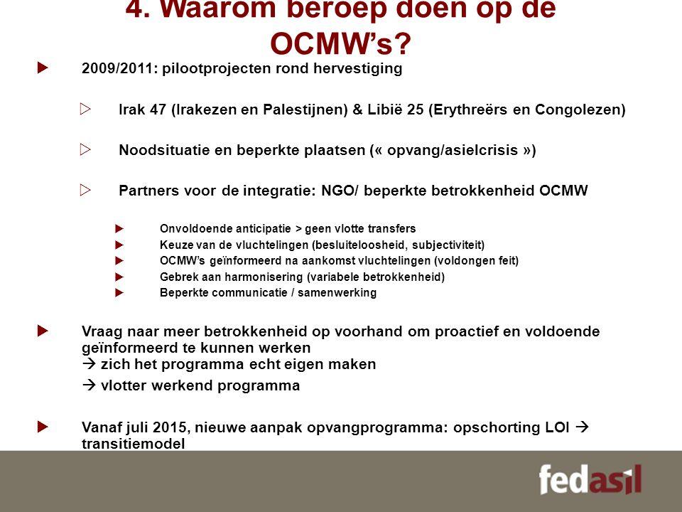 4. Waarom beroep doen op de OCMW's?  2009/2011: pilootprojecten rond hervestiging  Irak 47 (Irakezen en Palestijnen) & Libië 25 (Erythreërs en Congo