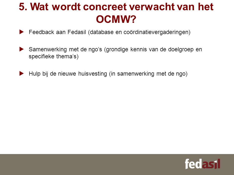 5. Wat wordt concreet verwacht van het OCMW?  Feedback aan Fedasil (database en coördinatievergaderingen)  Samenwerking met de ngo's (grondige kenni