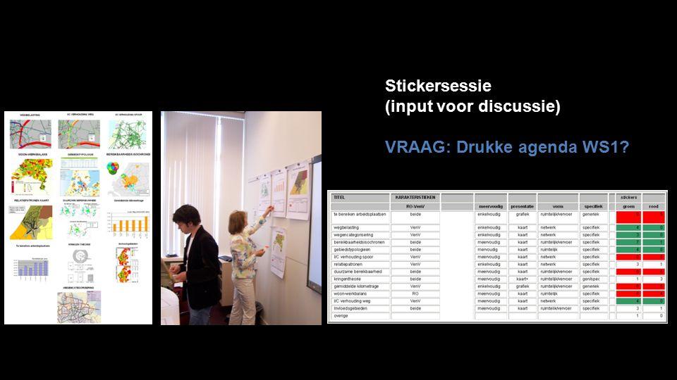 Stickersessie (input voor discussie) VRAAG: Drukke agenda WS1