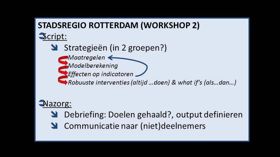STADSREGIO ROTTERDAM (WORKSHOP 2)  Script:  Strategieën (in 2 groepen?) - Maatregelen - Modelberekening - Effecten op indicatoren - Robuuste interventies (altijd …doen) & what if's (als…dan…)  Nazorg:  Debriefing: Doelen gehaald?, output definieren  Communicatie naar (niet)deelnemers