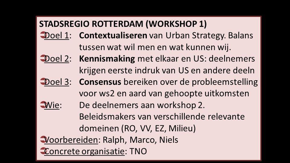 STADSREGIO ROTTERDAM (WORKSHOP 1)  Doel 1: Contextualiseren van Urban Strategy. Balans tussen wat wil men en wat kunnen wij.  Doel 2: Kennismaking m