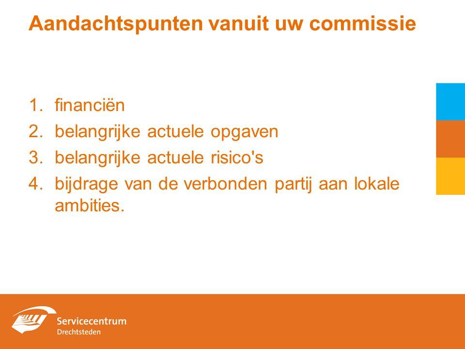 Aandachtspunten vanuit uw commissie 1.financiën 2.belangrijke actuele opgaven 3.belangrijke actuele risico s 4.bijdrage van de verbonden partij aan lokale ambities.