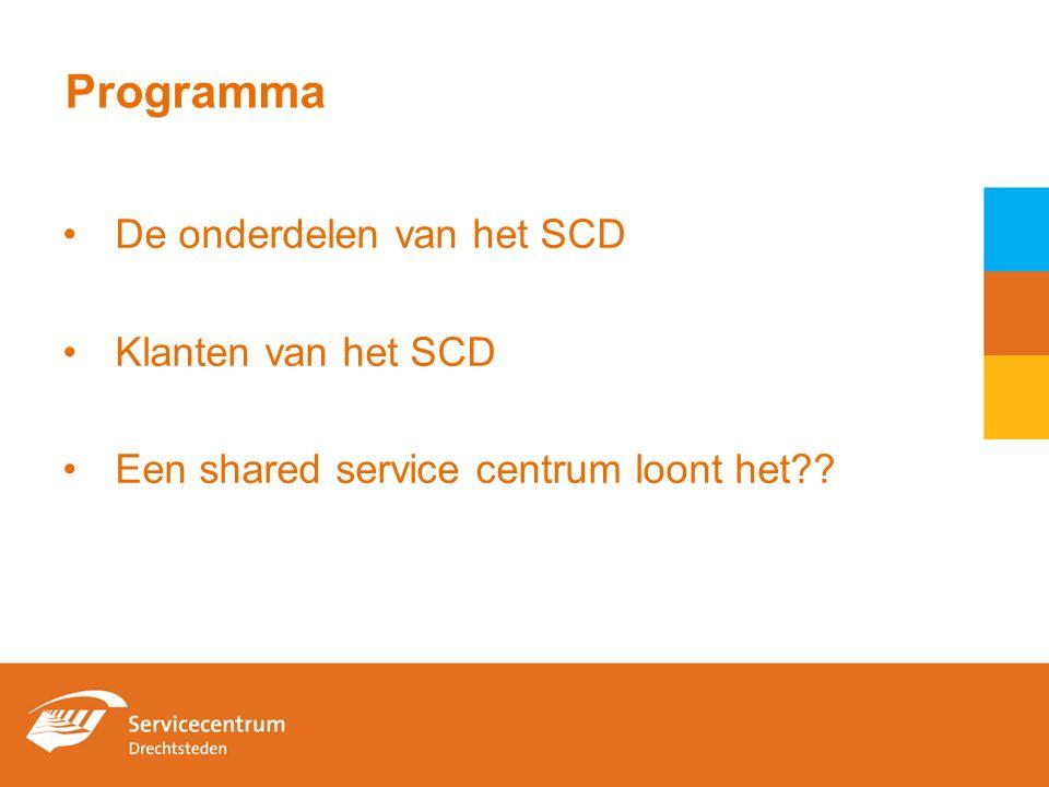 Programma De onderdelen van het SCD Klanten van het SCD Een shared service centrum loont het??
