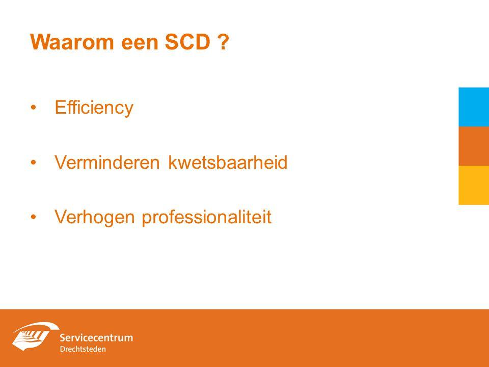 Waarom een SCD ? Efficiency Verminderen kwetsbaarheid Verhogen professionaliteit