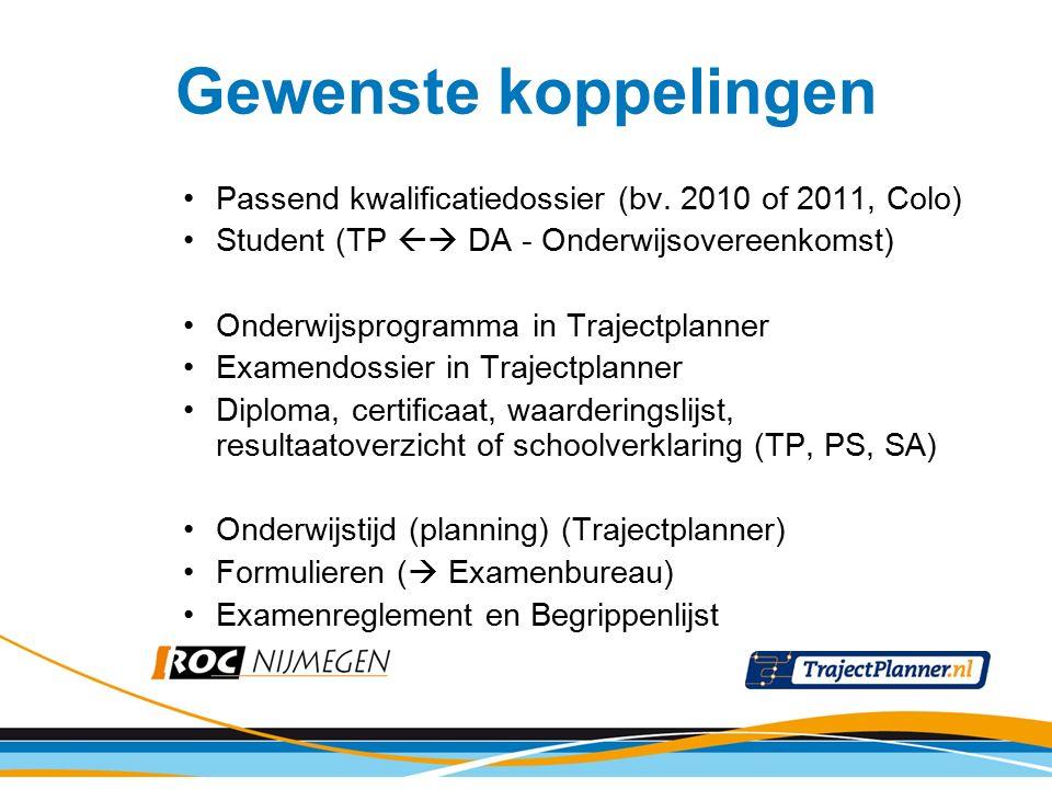 Passend kwalificatiedossier (bv. 2010 of 2011, Colo) Student (TP  DA - Onderwijsovereenkomst) Onderwijsprogramma in Trajectplanner Examendossier in