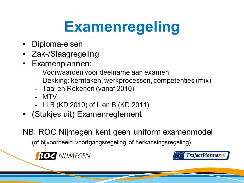 Diploma-eisen Zak-/Slaagregeling Examenplannen: -Voorwaarden voor deelname aan examen -Dekking: kerntaken, werkprocessen, competenties (mix) -Taal en