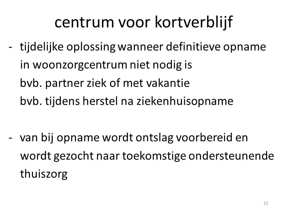 centrum voor kortverblijf -tijdelijke oplossing wanneer definitieve opname in woonzorgcentrum niet nodig is bvb.