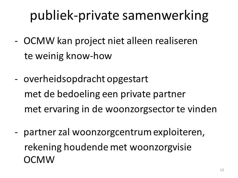 publiek-private samenwerking -OCMW kan project niet alleen realiseren te weinig know-how -overheidsopdracht opgestart met de bedoeling een private partner met ervaring in de woonzorgsector te vinden -partner zal woonzorgcentrum exploiteren, rekening houdende met woonzorgvisie OCMW 14