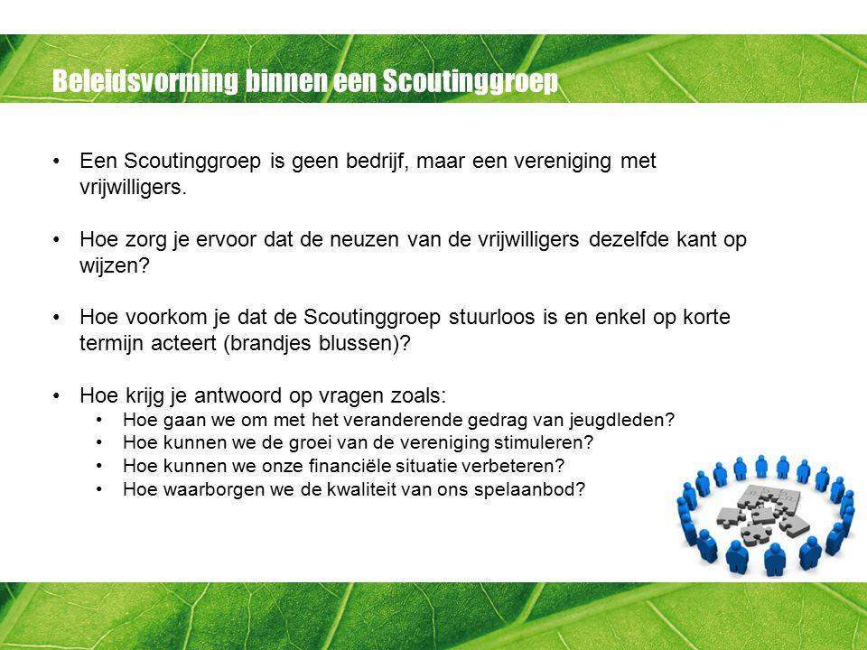 Beleidsvorming binnen een Scoutinggroep Zorg voor draagvlak binnen de vereniging.