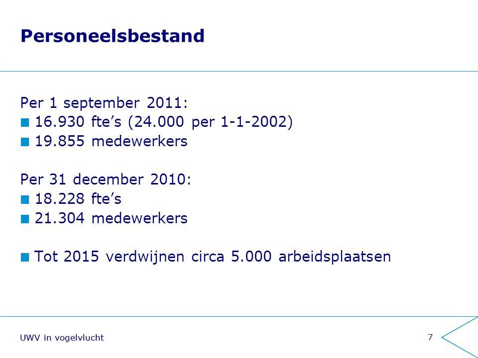 8 Financiën Geldstroom Grote geldstroom (uitkeringen) in 2010 lasten: € 22,9 miljard baten: € 21,4 miljard Kleine geldstroom (uitvoeringskosten incl.