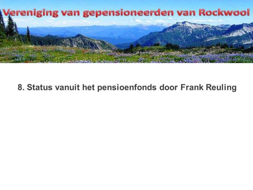 8. Status vanuit het pensioenfonds door Frank Reuling
