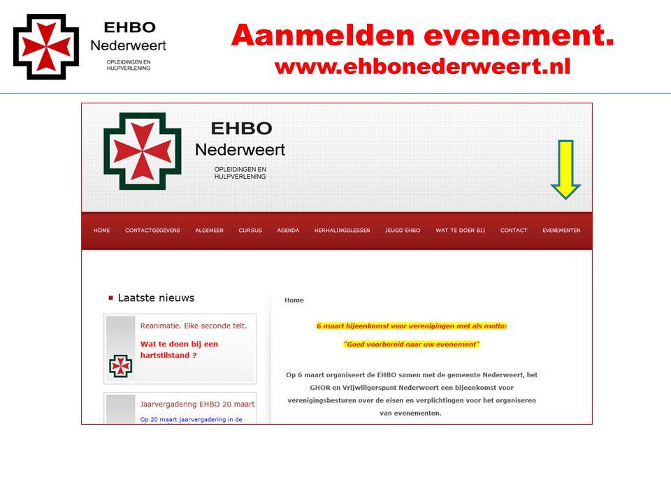 Aanmelden evenement. www.ehbonederweert.nl