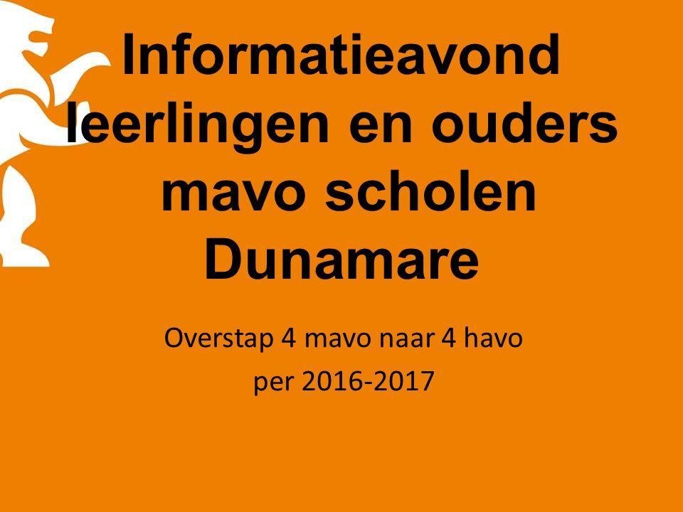 Informatieavond leerlingen en ouders mavo scholen Dunamare Overstap 4 mavo naar 4 havo per 2016-2017