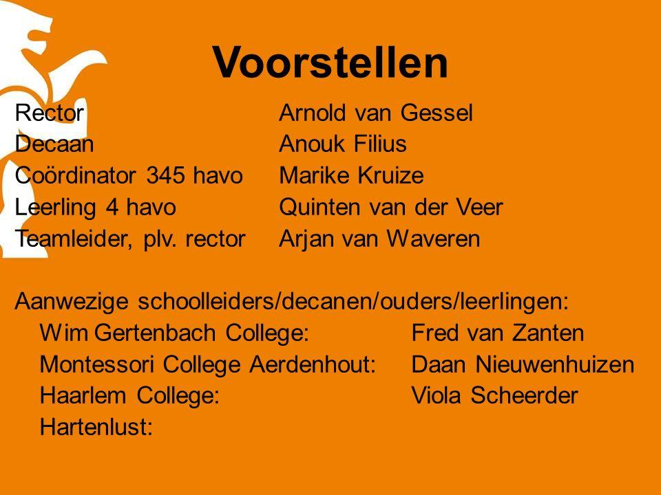 Voorstellen RectorArnold van Gessel Decaan Anouk Filius Coördinator 345 havoMarike Kruize Leerling 4 havoQuinten van der Veer Teamleider, plv.
