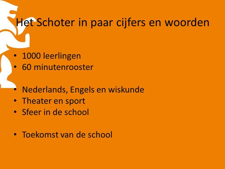 Het Schoter in paar cijfers en woorden 1000 leerlingen 60 minutenrooster Nederlands, Engels en wiskunde Theater en sport Sfeer in de school Toekomst van de school