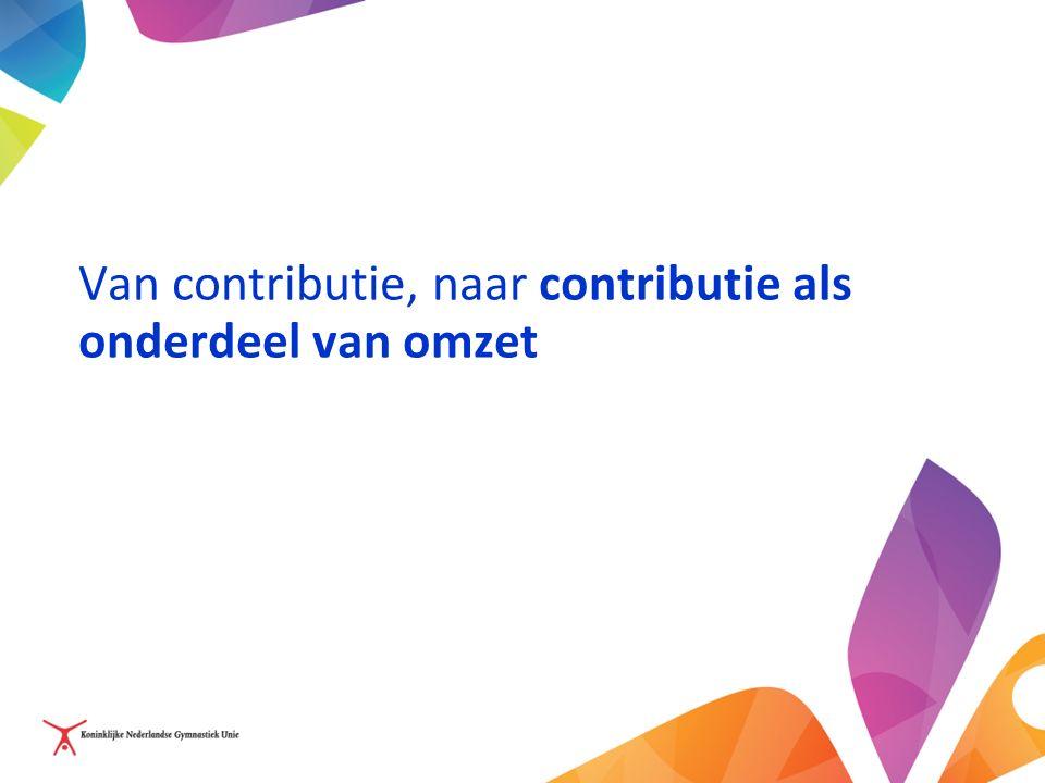 Van contributie, naar contributie als onderdeel van omzet
