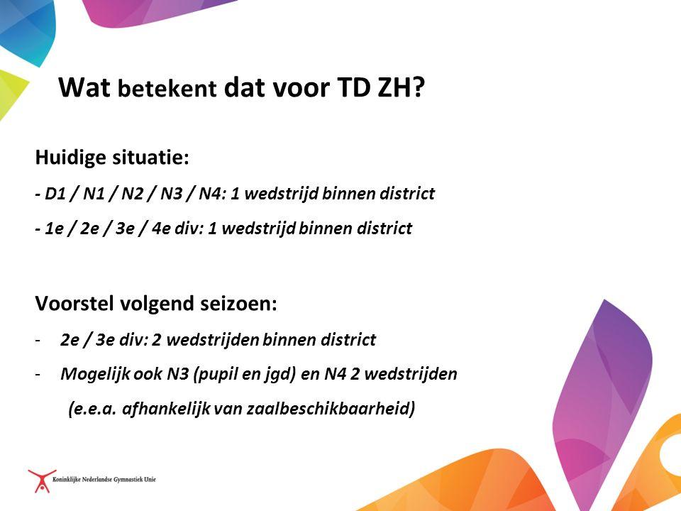 Wat betekent dat voor TD ZH? Huidige situatie: - D1 / N1 / N2 / N3 / N4: 1 wedstrijd binnen district - 1e / 2e / 3e / 4e div: 1 wedstrijd binnen distr