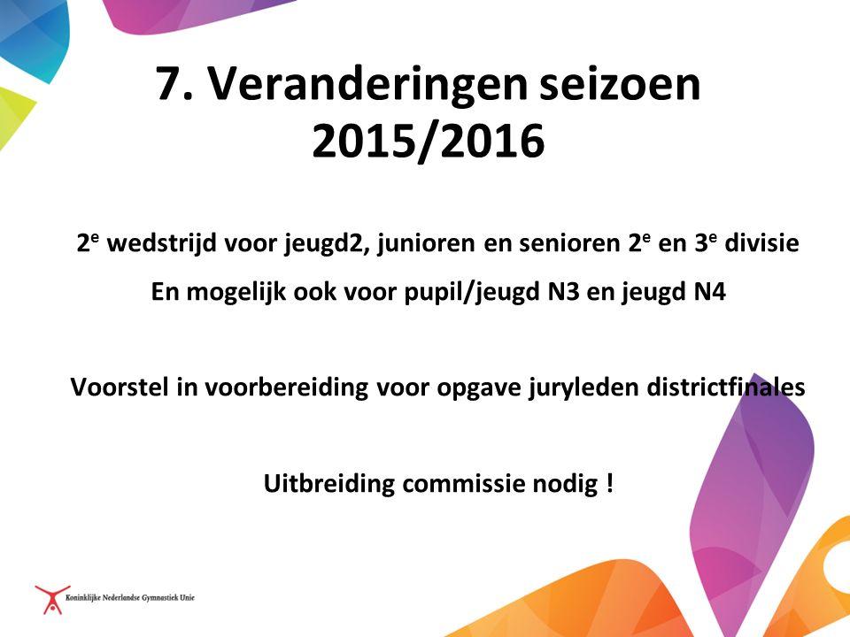 7. Veranderingen seizoen 2015/2016 2 e wedstrijd voor jeugd2, junioren en senioren 2 e en 3 e divisie En mogelijk ook voor pupil/jeugd N3 en jeugd N4