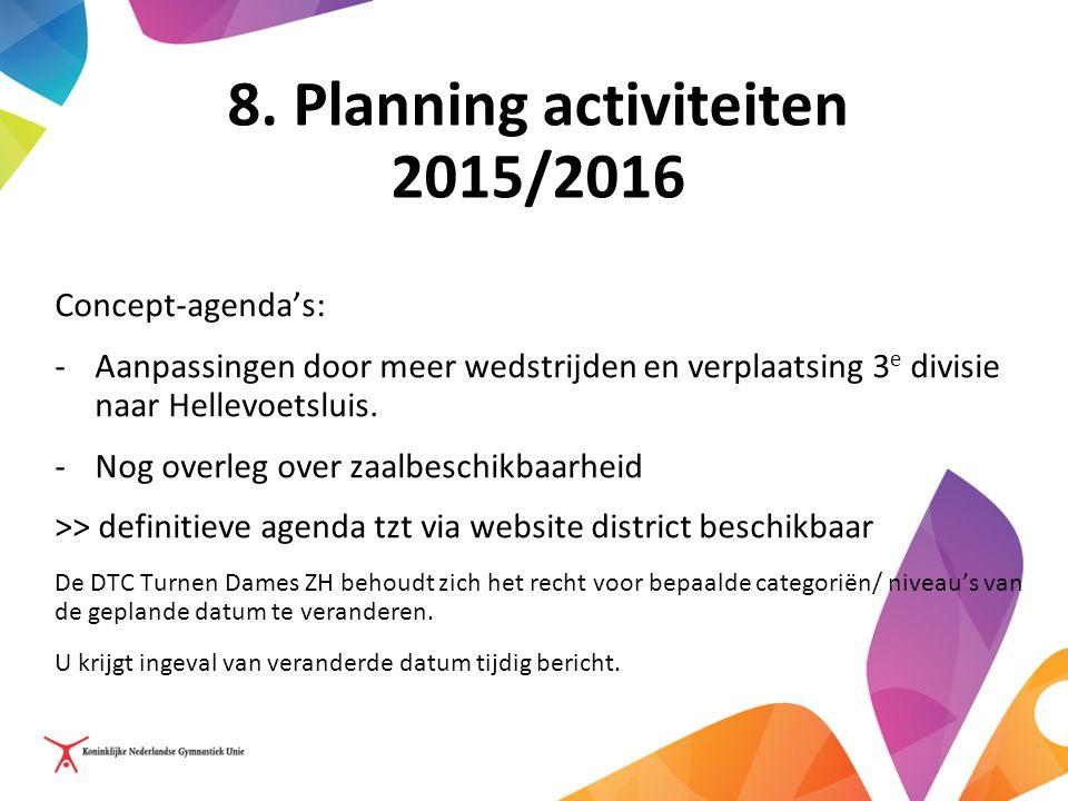 8. Planning activiteiten 2015/2016 Concept-agenda's: -Aanpassingen door meer wedstrijden en verplaatsing 3 e divisie naar Hellevoetsluis. -Nog overleg
