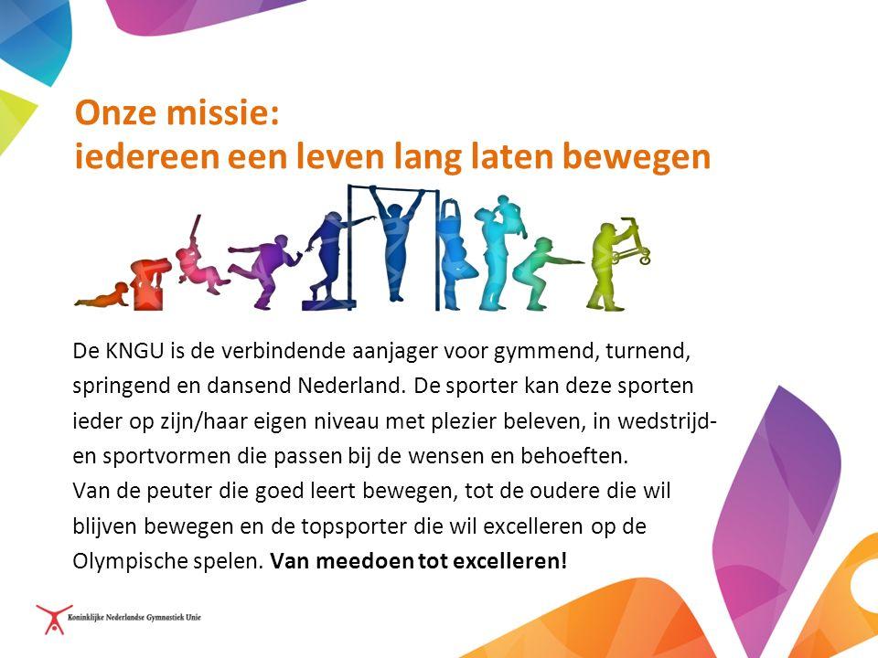 Onze missie: iedereen een leven lang laten bewegen De KNGU is de verbindende aanjager voor gymmend, turnend, springend en dansend Nederland.