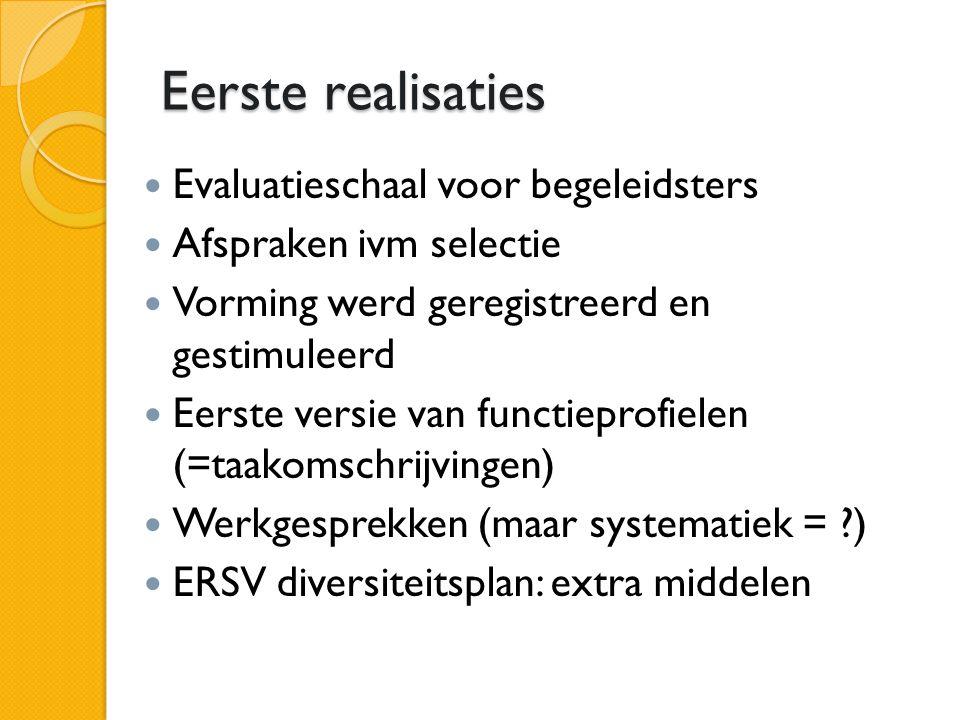 Eerste realisaties Evaluatieschaal voor begeleidsters Afspraken ivm selectie Vorming werd geregistreerd en gestimuleerd Eerste versie van functieprofielen (=taakomschrijvingen) Werkgesprekken (maar systematiek = ) ERSV diversiteitsplan: extra middelen