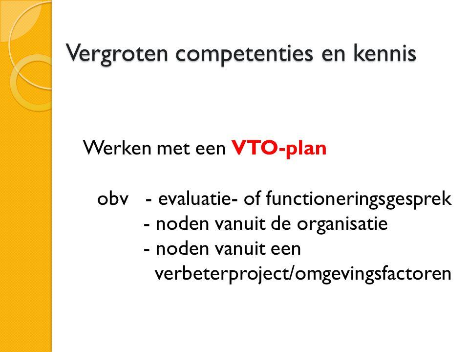 Vergroten competenties en kennis Werken met een VTO-plan obv - evaluatie- of functioneringsgesprek - noden vanuit de organisatie - noden vanuit een verbeterproject/omgevingsfactoren